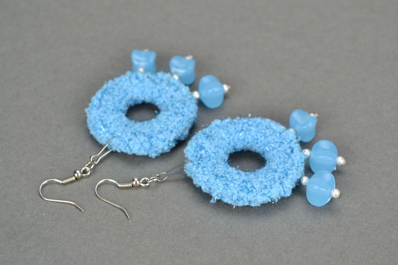 Blue crochet earrings photo 1