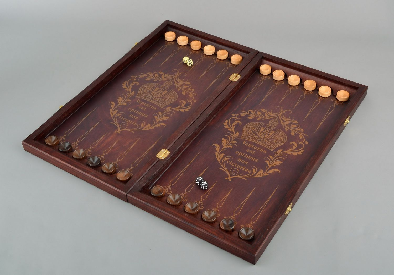 Wooden backgammon set photo 1