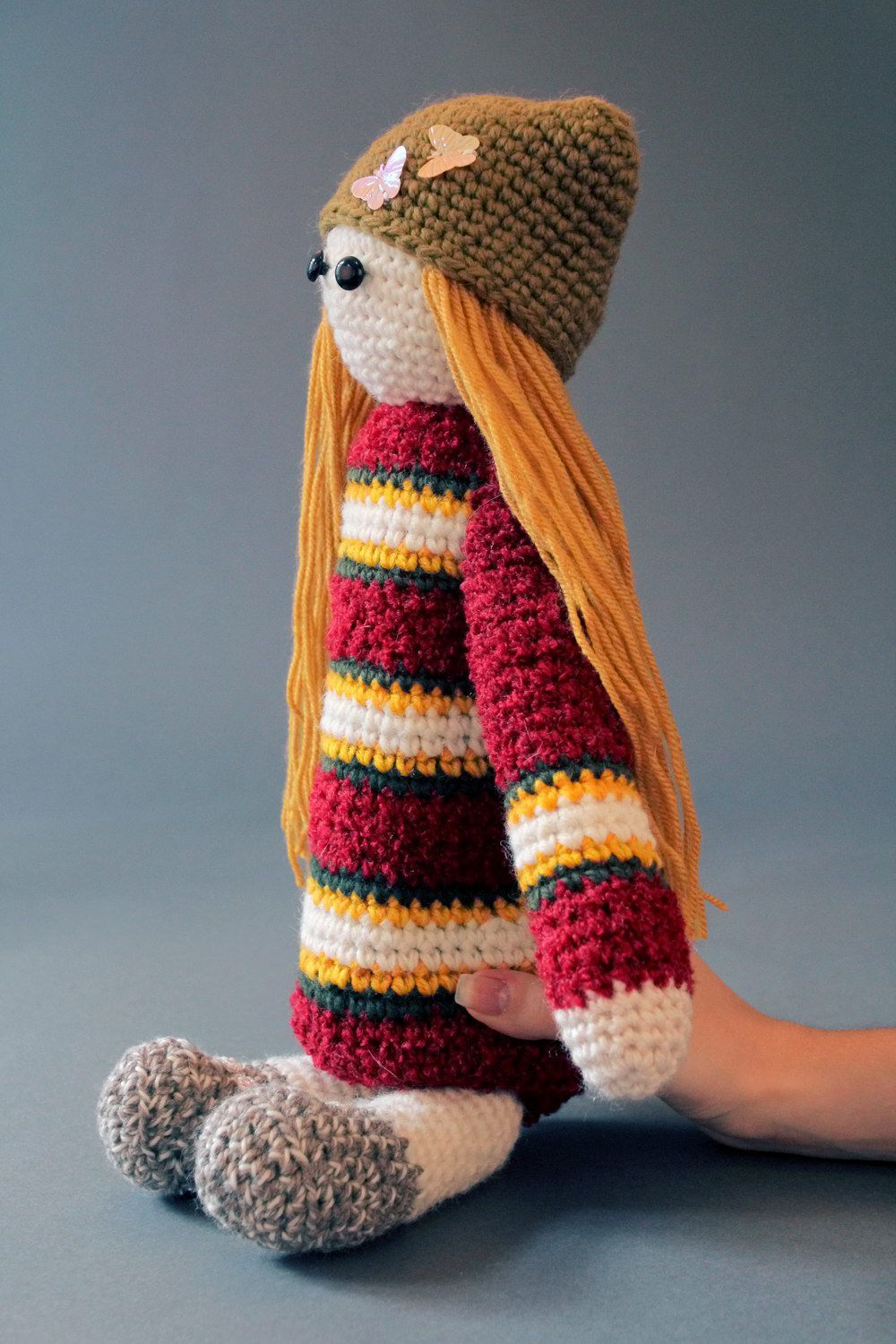 Striped knitted doll  photo 3