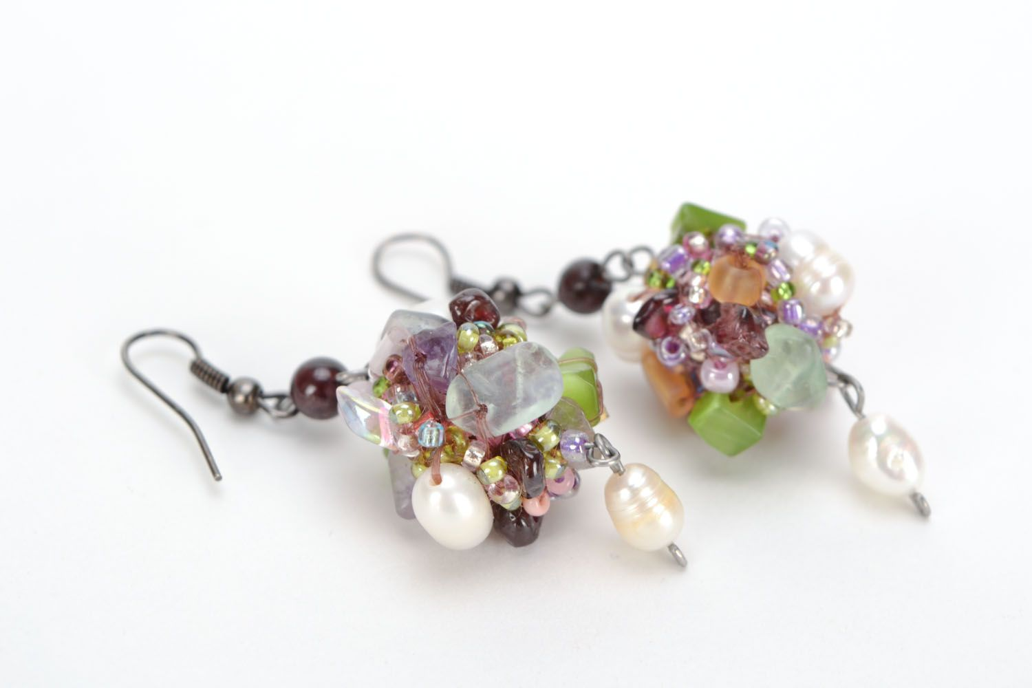Homemade earrings with river pearls and natural stones photo 4
