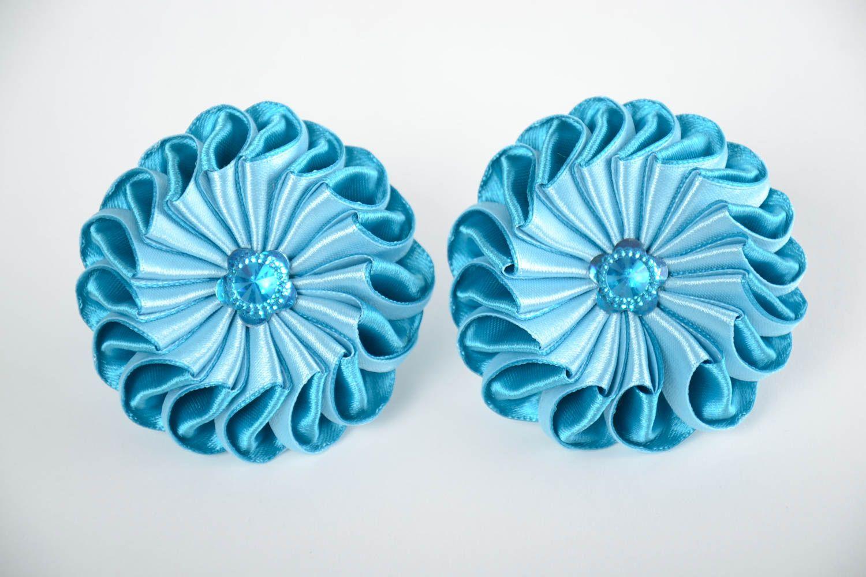 Set of 2 handmade children's blue satin ribbon flower hair ties kanzashi photo 5