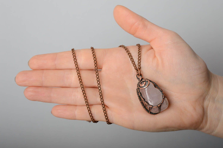 Copper pendant with pink quartz photo 5