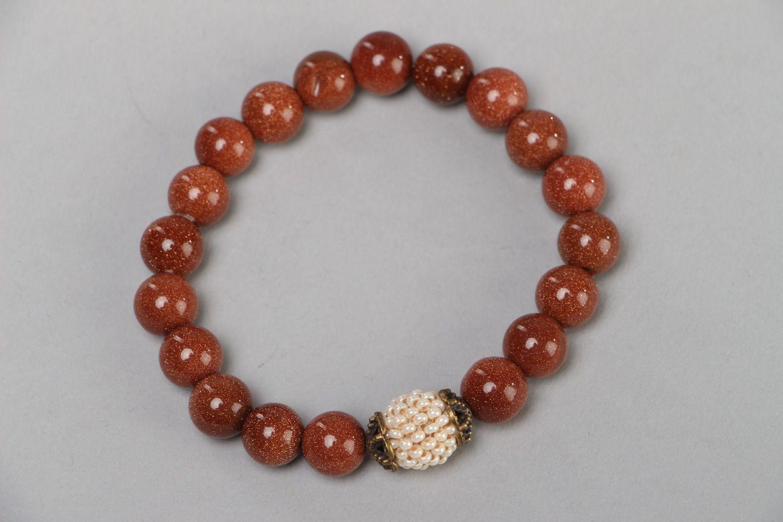 Handmade beautiful wrist bracelet with aventurine stone and Czech beads for women photo 2