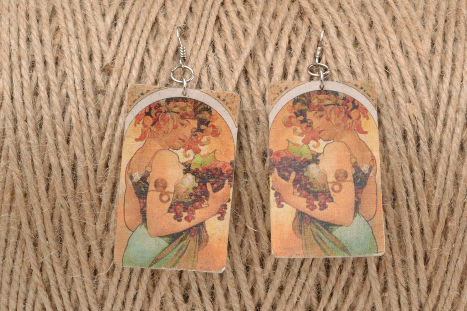 Polymer clay earrings Girl with Grapes photo 1