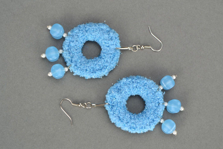 Blue crochet earrings photo 3