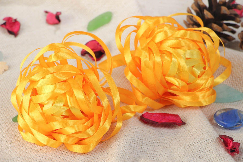 Набор резинок для волос из лент оранжевый ручной работы авторский 2 штуки фото 1