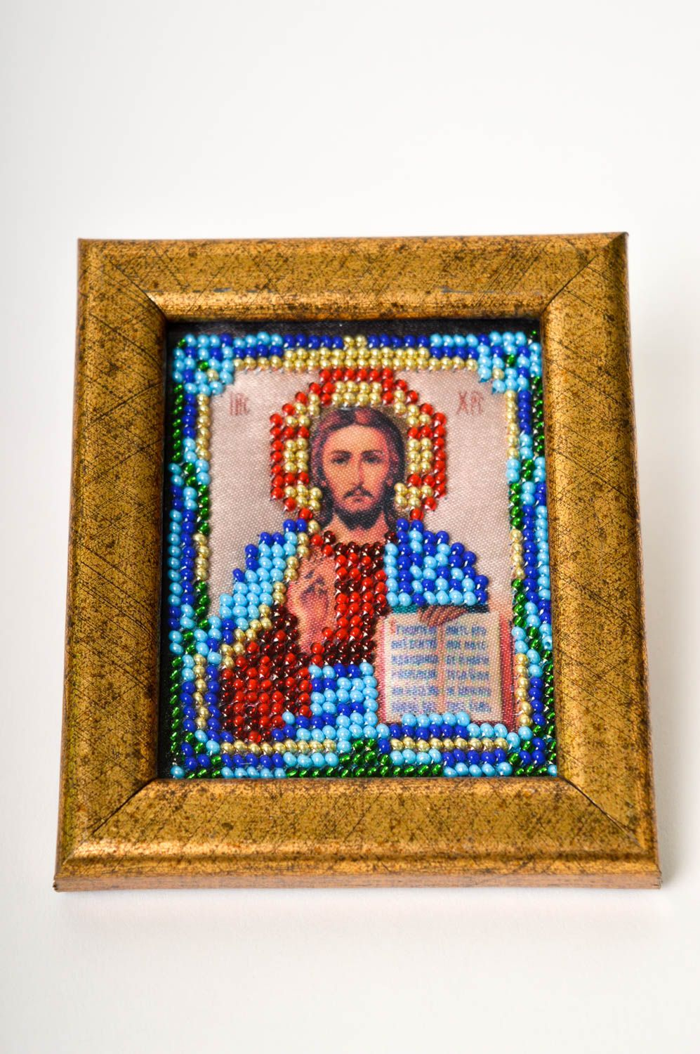 Handmade beautiful icon beaded icon in frame small orthodox icon present photo 2