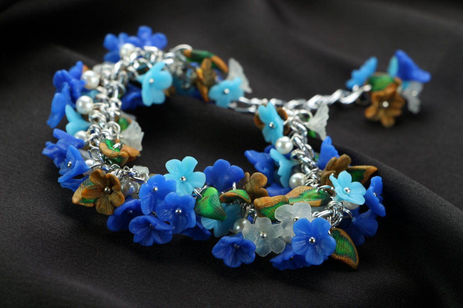 Polymer clay bracelet Forget-me-not photo 1