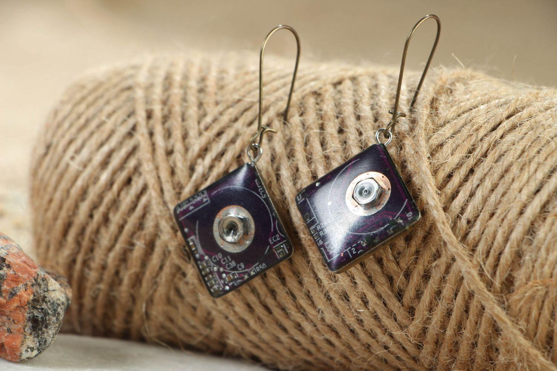 steampunk earrings Beautiful metal earrings with microchips - MADEheart.com