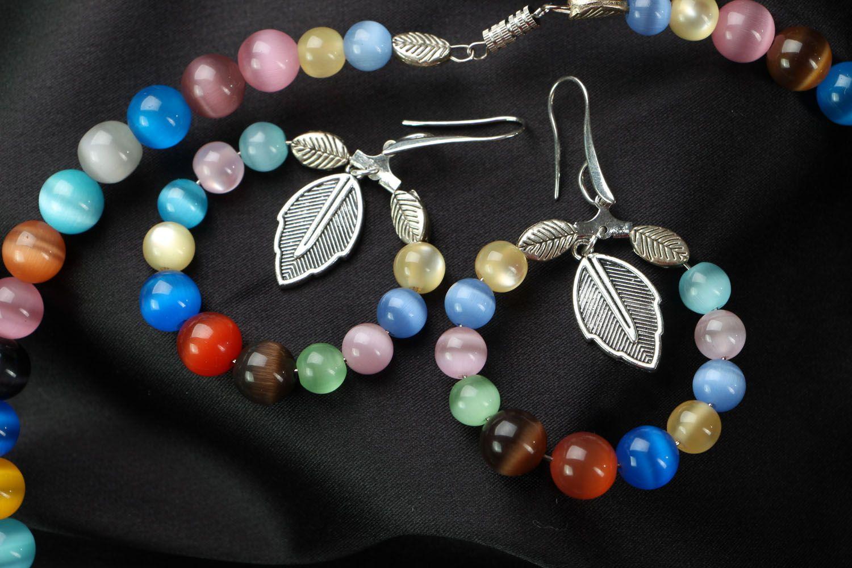 Jewelry set with cat's eye stone photo 3