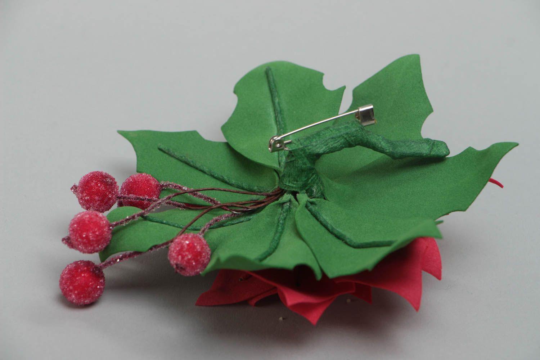 Beautiful handmade designer large foamiran flower brooch for women Pulcherrima photo 4