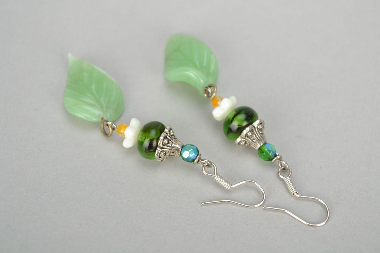Lampwork glass earrings photo 5