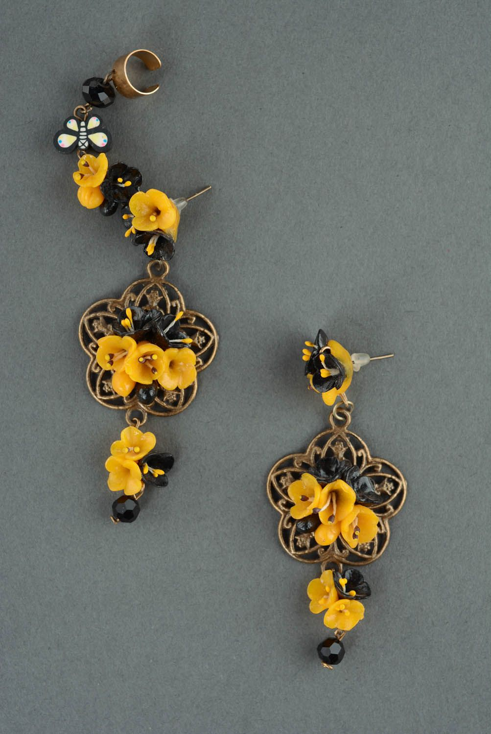 Cuff earring with charms Openwork photo 2