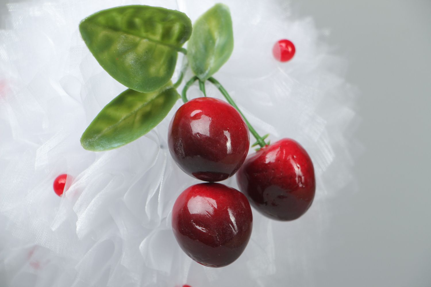 Organza topiary with cherry photo 2