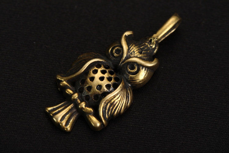 Bronze pendant Owl photo 1
