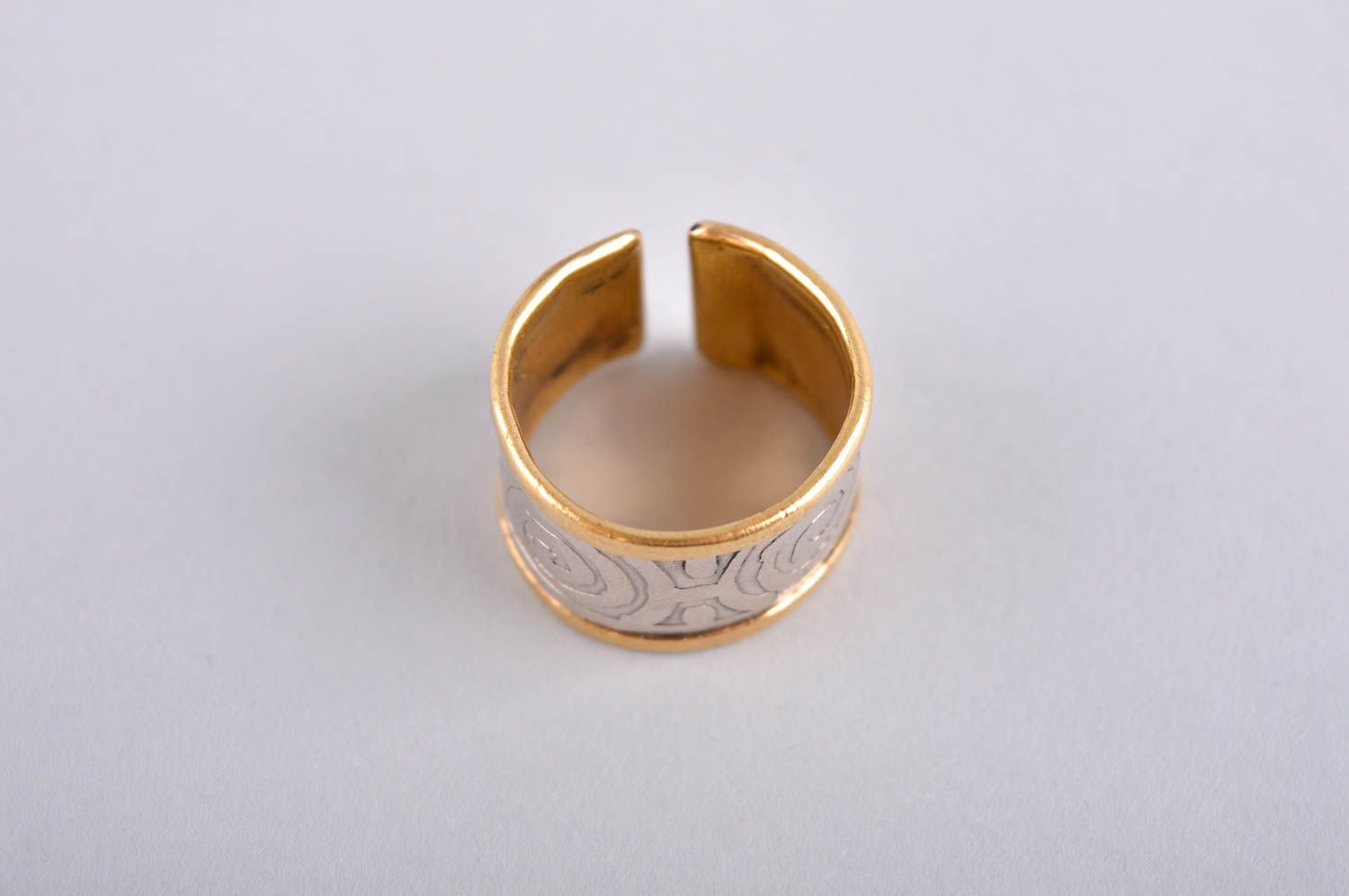 Designer ring unusual gift for women metal accessory brass ring unusual jewelry photo 2