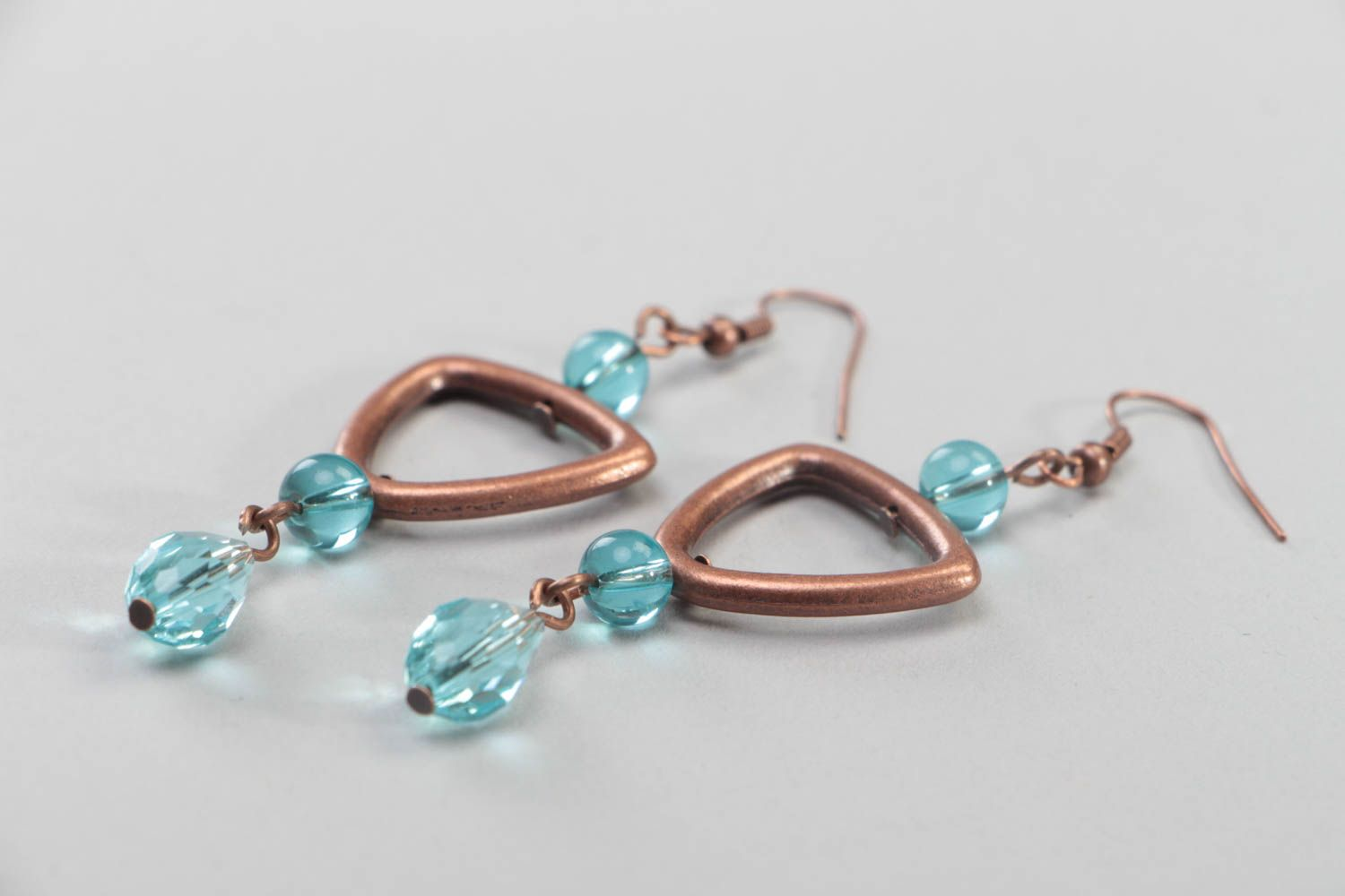 Handmade massive earrings accessories made of crystal beads copper jewelry photo 3