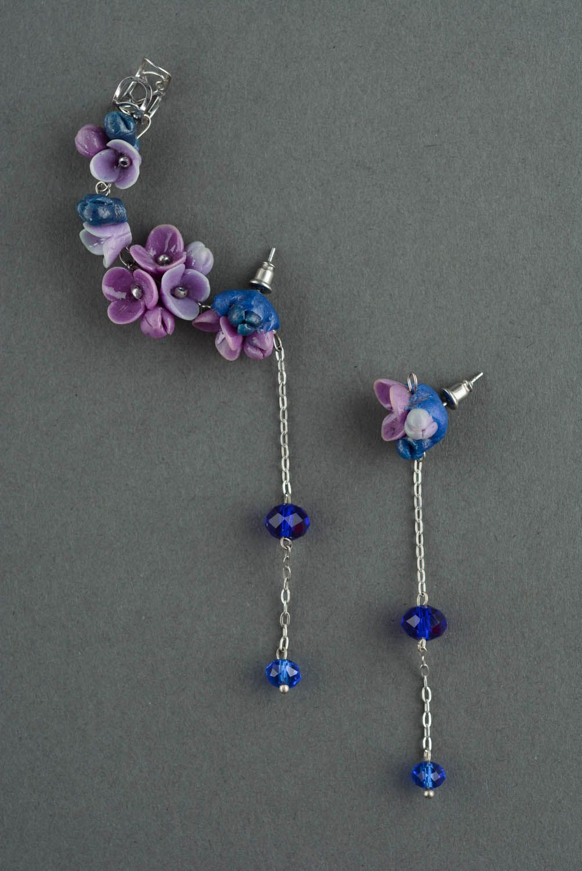 Beautiful cuff earrings Violets photo 2