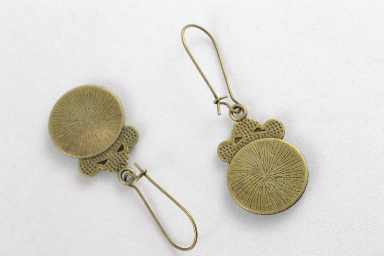 Decoupage epoxy earrings Vintage photo 5