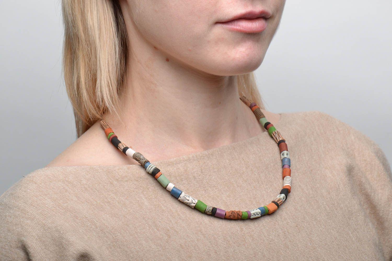 Colorful ceramic bead necklace photo 2