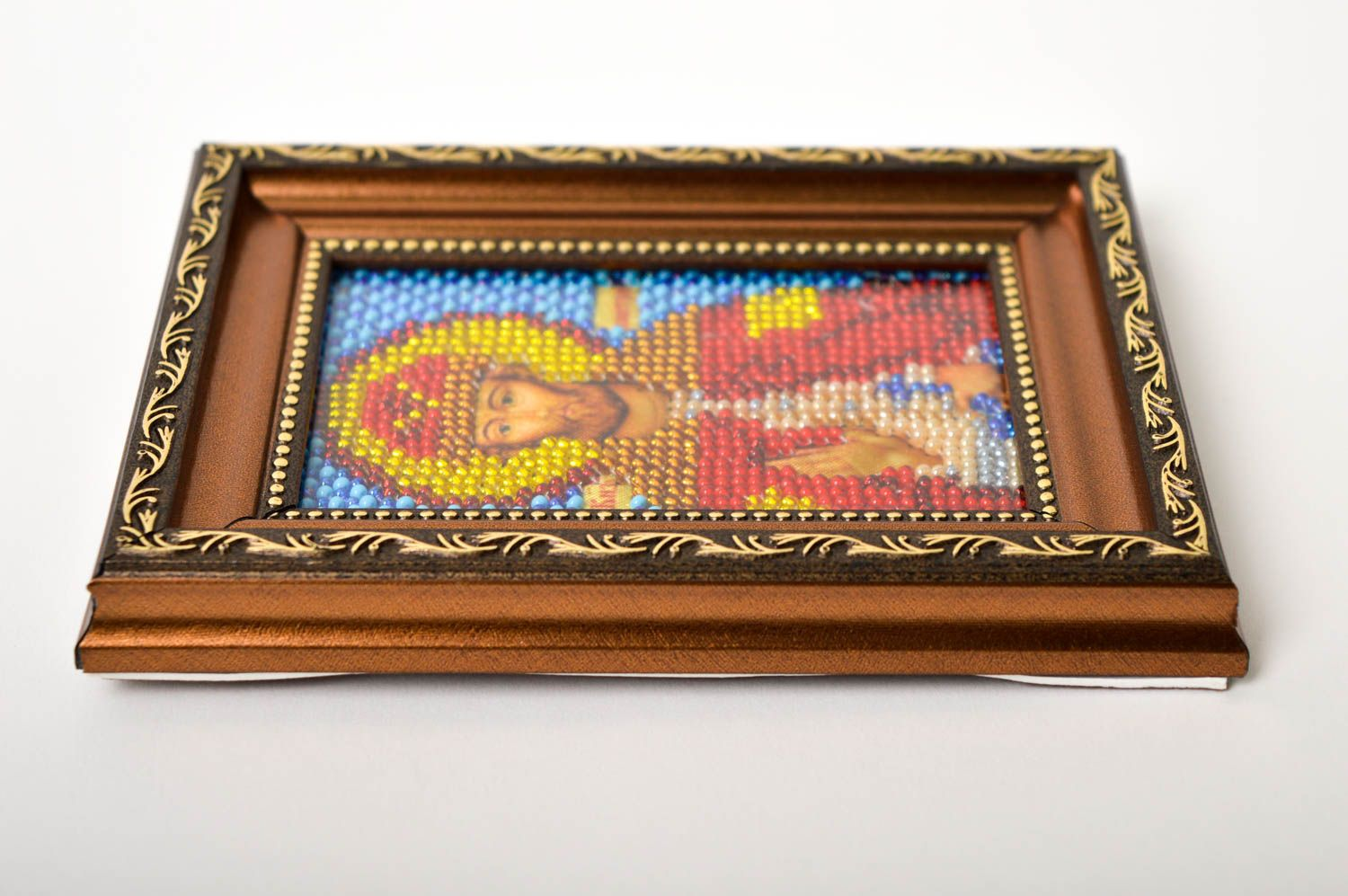 Handmade beautiful icon unusual embroidered icon beaded orthodox present photo 3