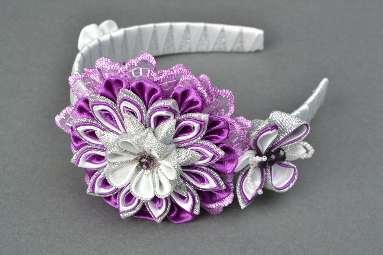 Обруч для волос из атласных лент в технике канзаши весенний фото 2