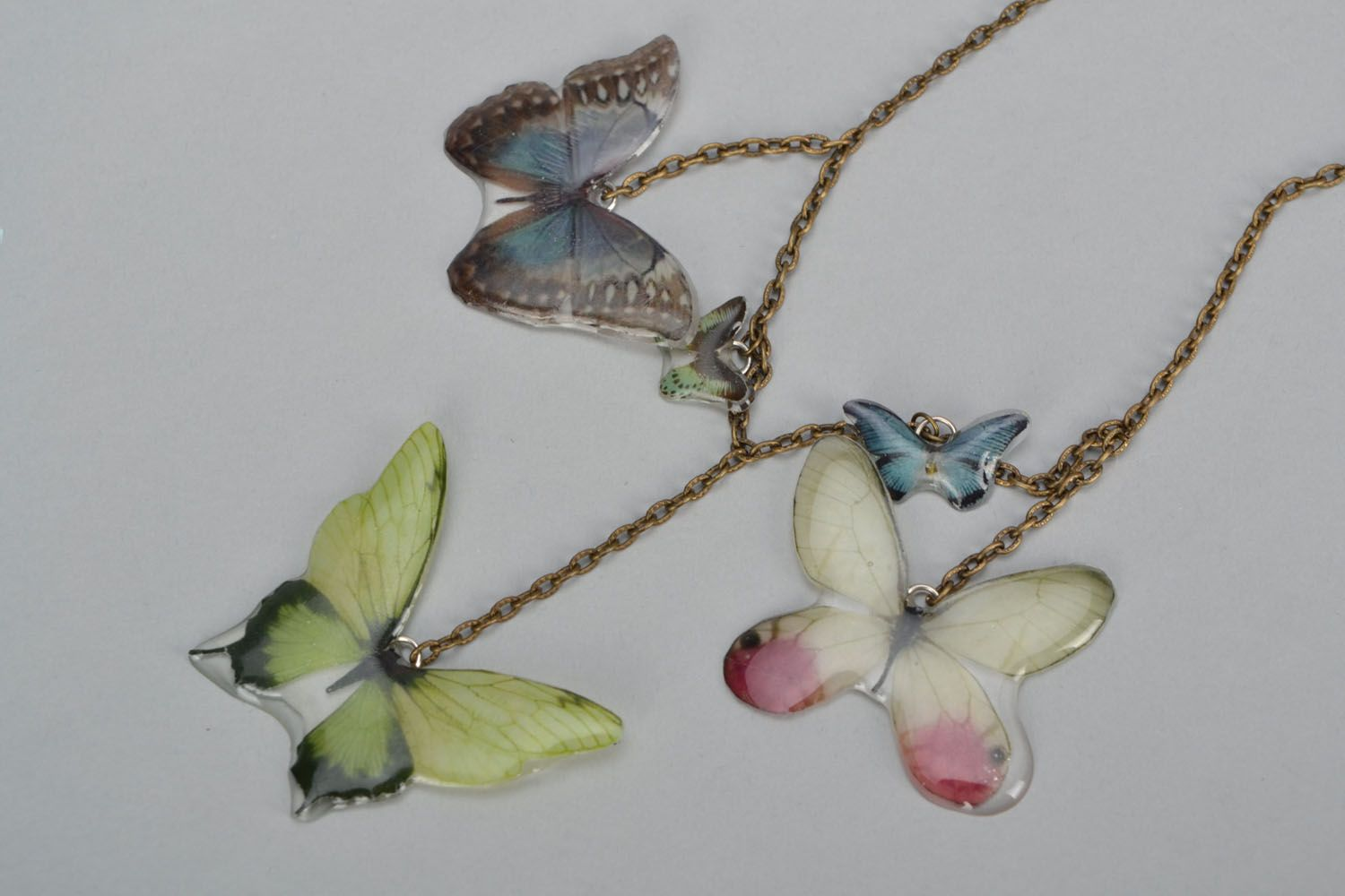 Real butterfly necklace photo 2