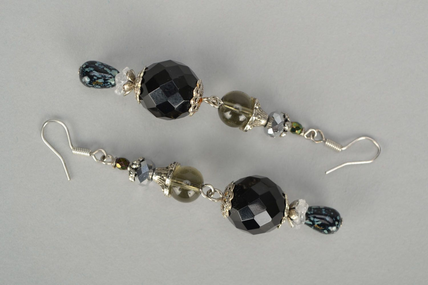 Black glass earrings photo 3