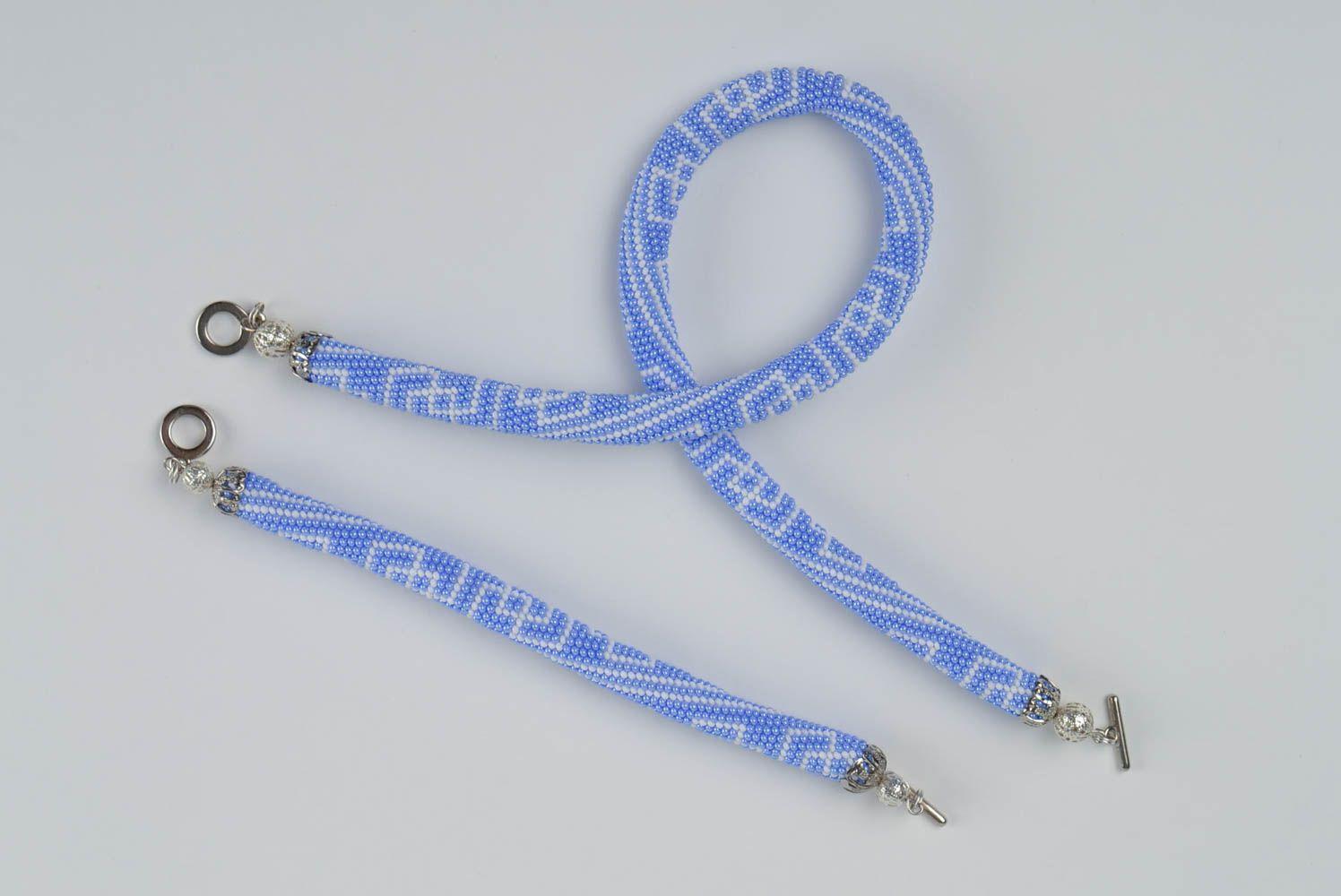 Schmuckset aus Glasperlen Armband und Litze hellblau handmade mit Mustern schön foto 2