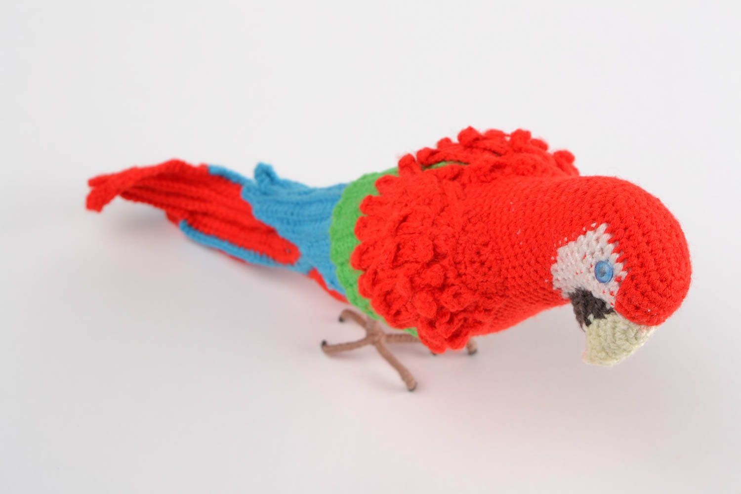 Handmade designer soft toy crocheted of colorful acrylic threads red parrot photo 3