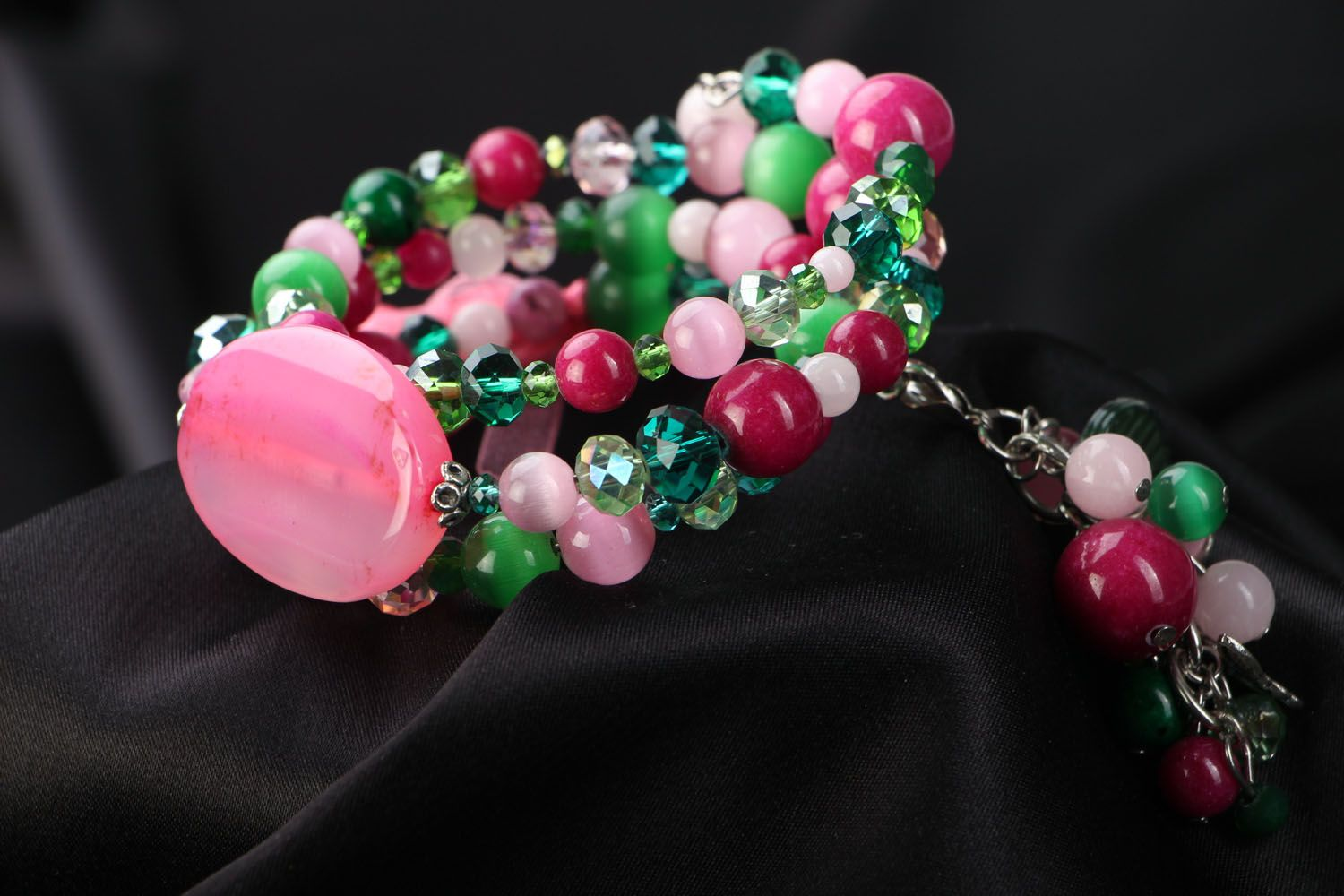 Wide bracelet with natural stones photo 3