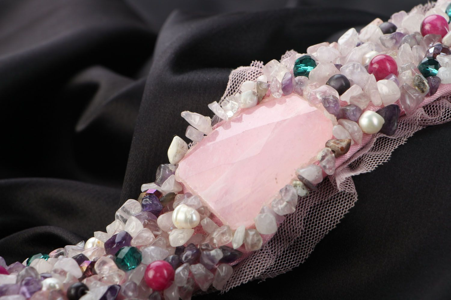 Pink wide bracelet with natural stones photo 2