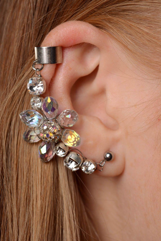 Earrings cuffs Crystal photo 3