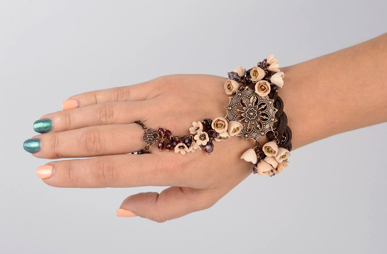 bracelets en pâte polymère Bracelet bague slave Bijou fait main style indien  original Accessoire femme ,