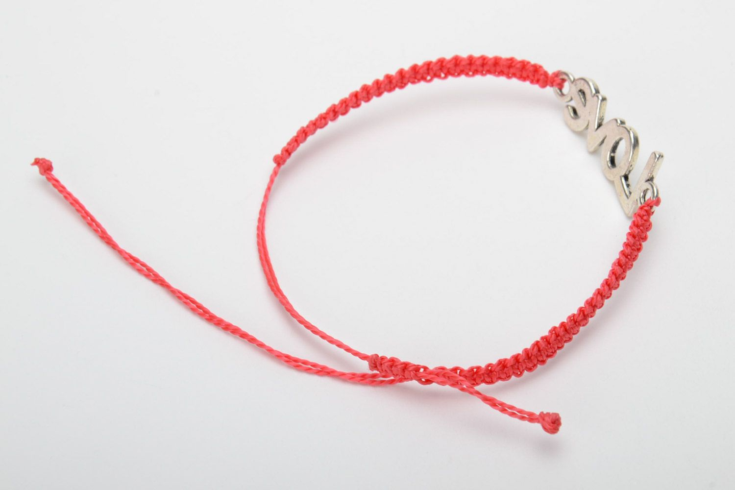 Handmade women's woven cord bracelet of red color with metal charm lettering photo 4
