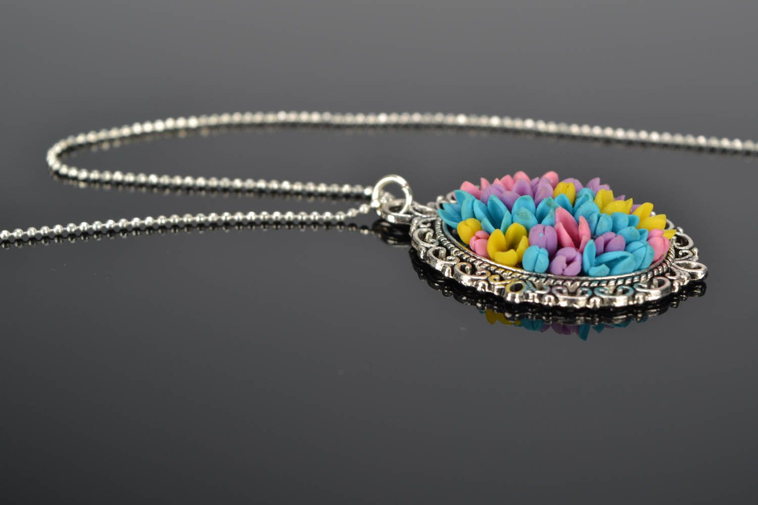 Pendant with long chain Field Bouquet photo 1