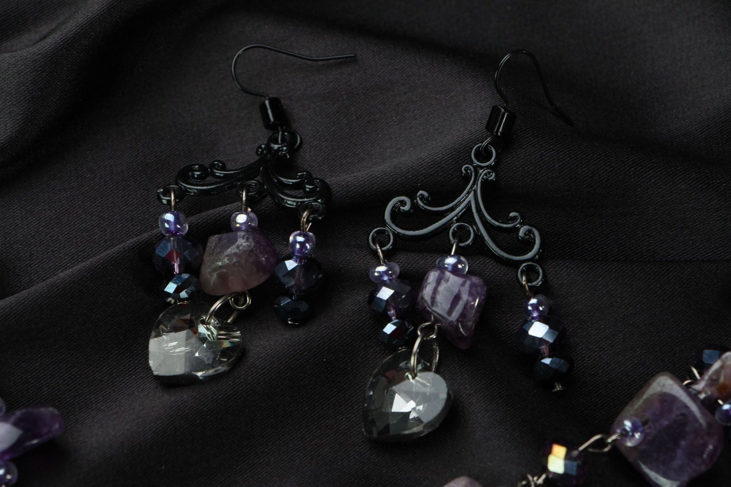 Jewelry set with amethyst and crystal photo 3
