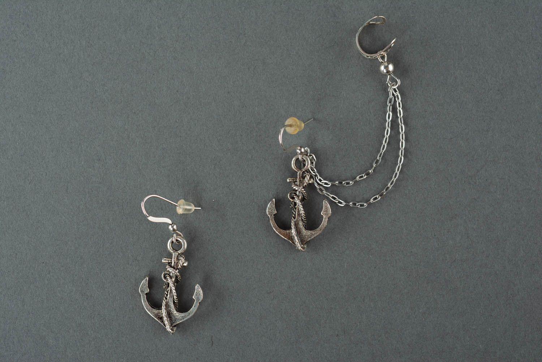 Metal cuff earrings Anchor photo 2