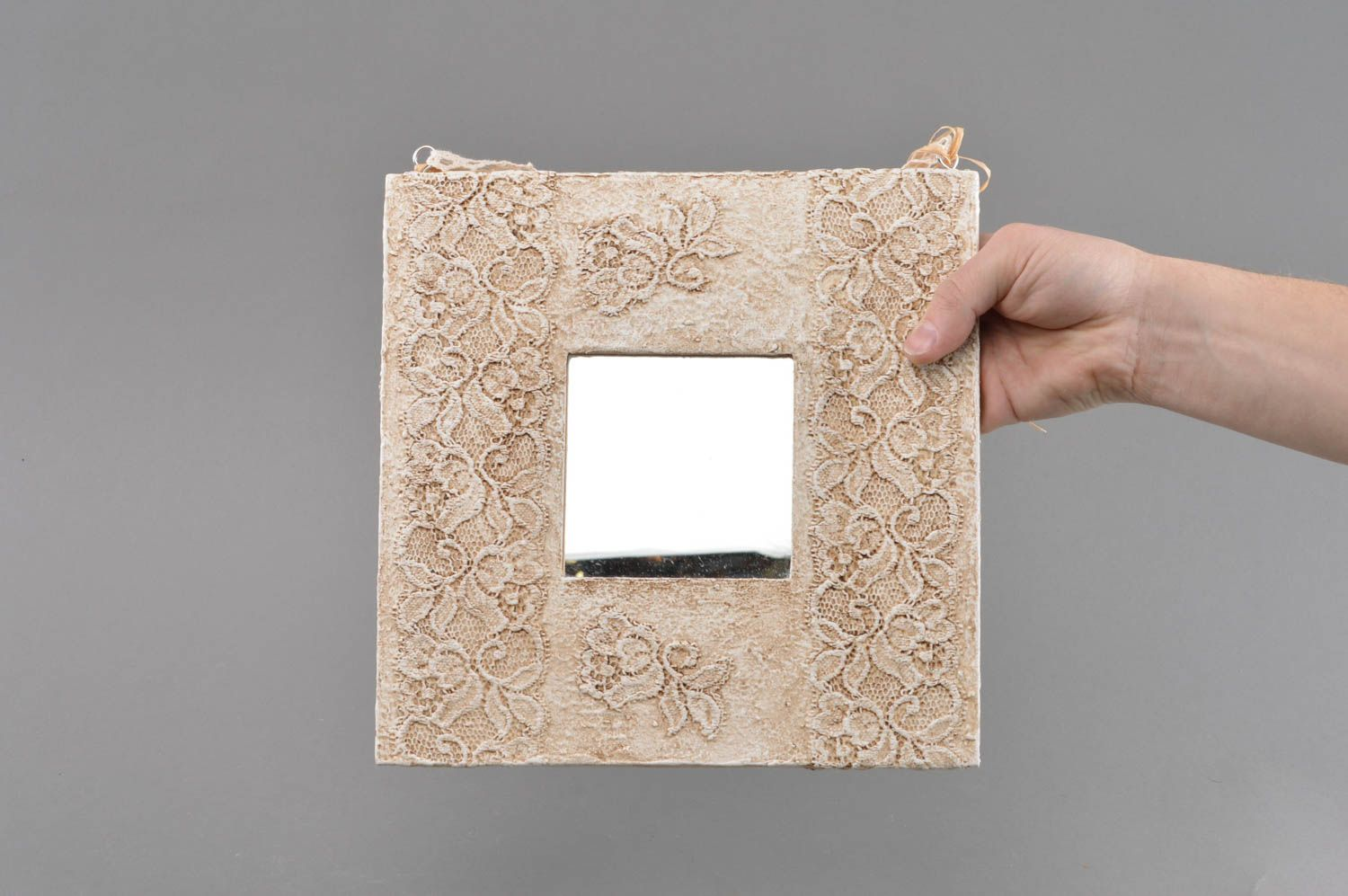 mirrors Beautiful handmade square wall mirror with imitation of Sicilian lace - MADEheart.com