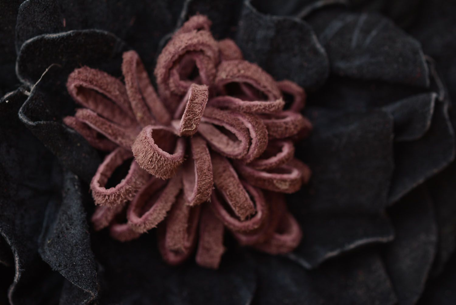 Headband with a leather flower photo 5