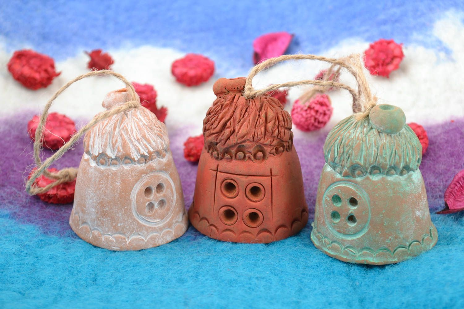 Set of 3 handmade decorative ceramic bells Houses of different colors with cords photo 1