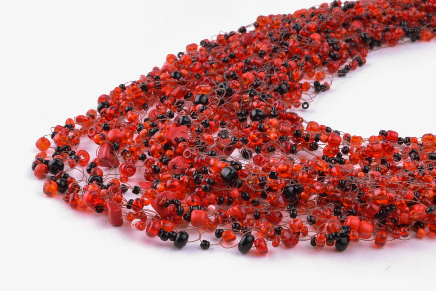 Red and black necklace made of beads and natural stones photo 2