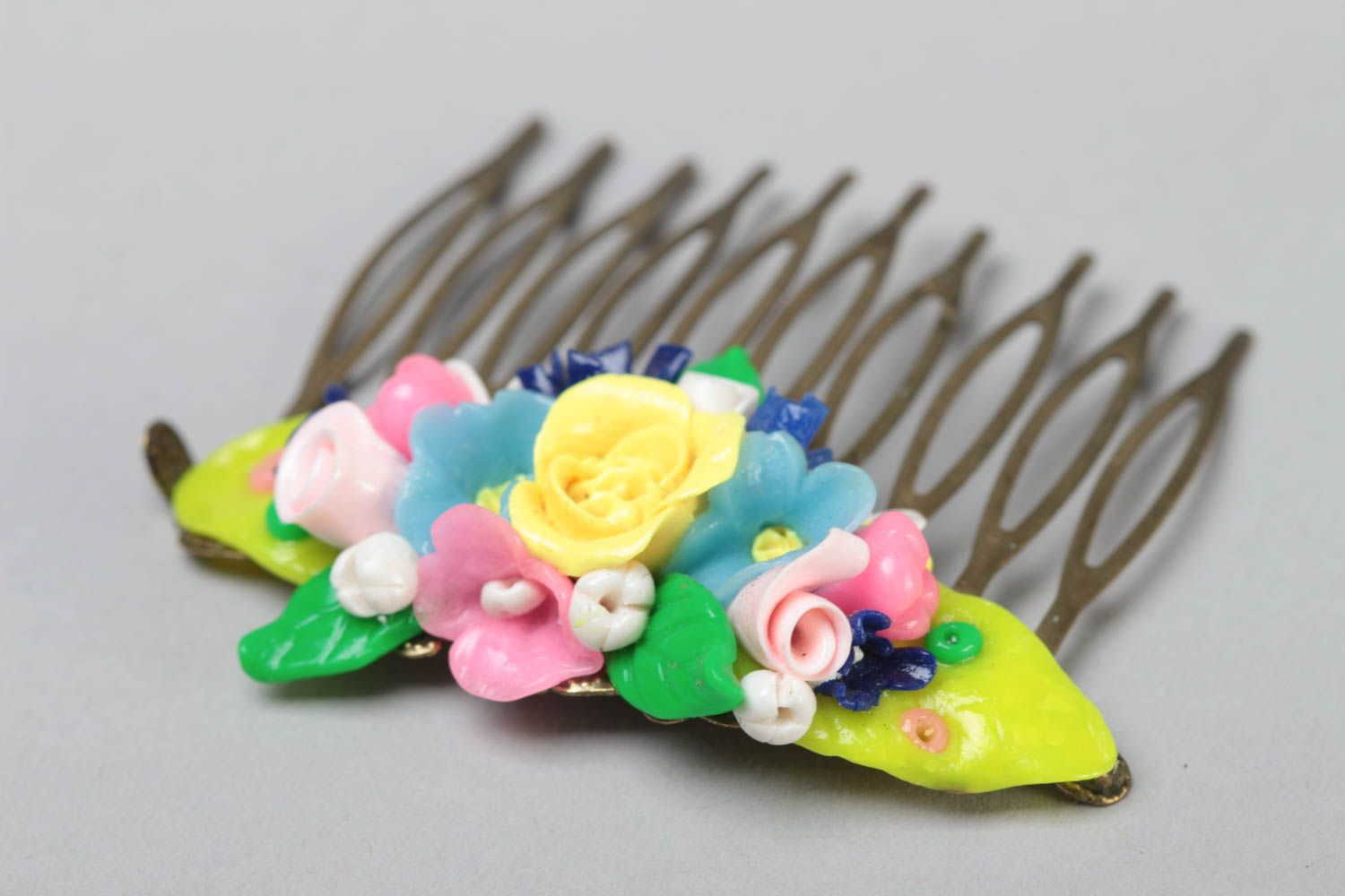Handmade decorative hair comb with small colorful volume polymer clay flowers photo 3