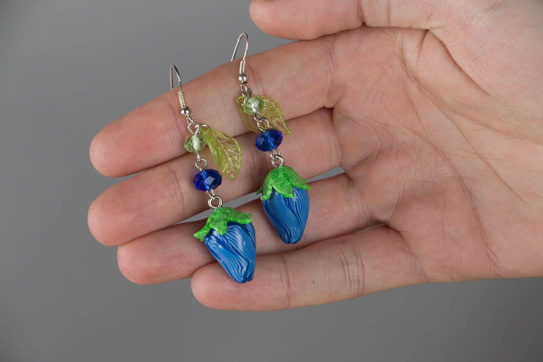 Polymer clay dangling earrings photo 4