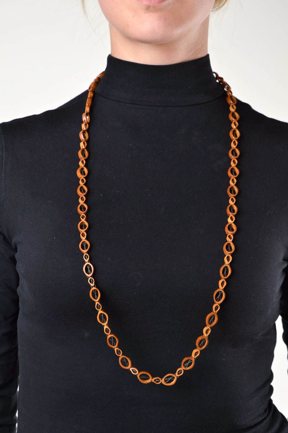 Handmade necklace long necklace beaded jewelry wooden jewelry gifts for women photo 1