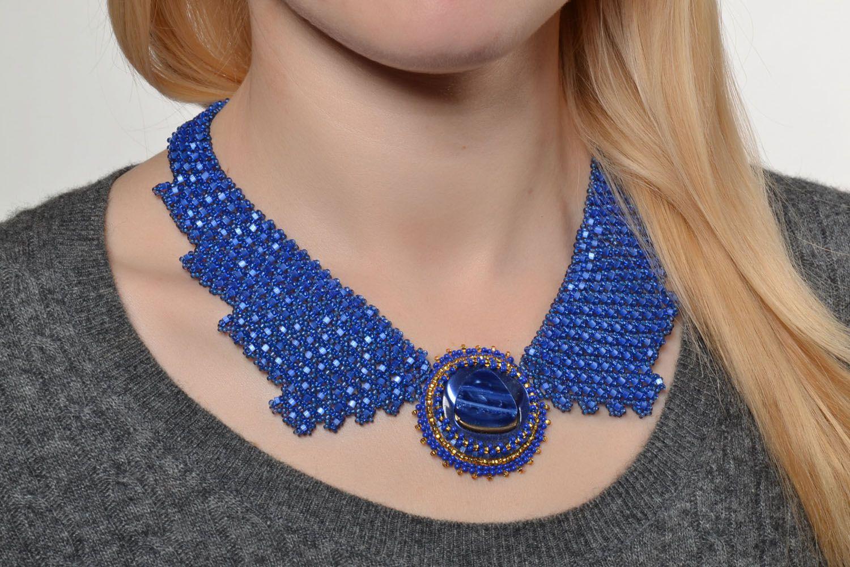 Blaues Collier aus Glasperlen foto 5