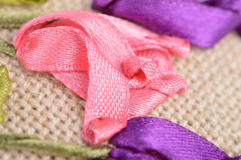 Handmade decorative fabric sachet pillow with satin ribbon embroidery for decor photo 4