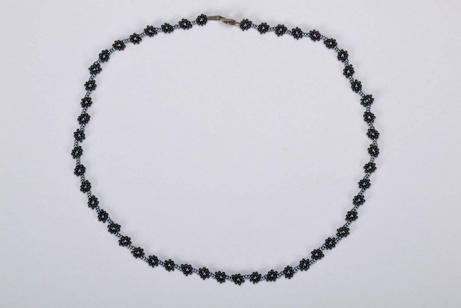 Schwarzes Collier-Armband aus Glasperlen foto 2