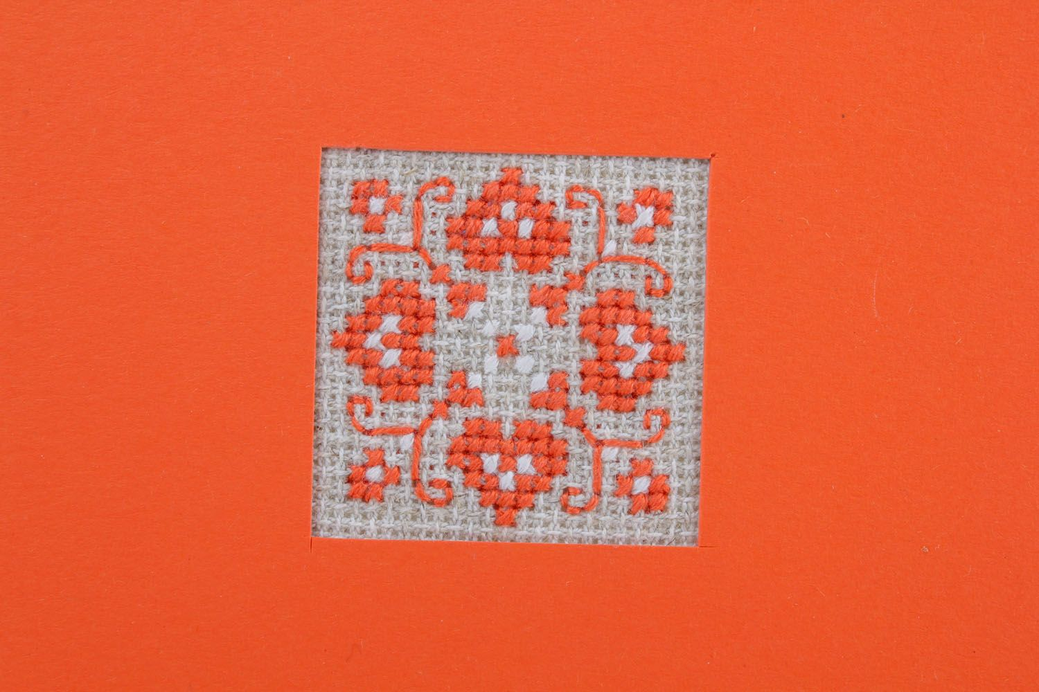 Orange postcard with embroidery  photo 3