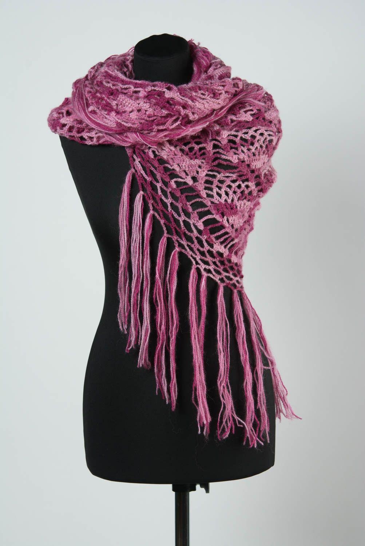 Chal de lana artesanal tejido a dos agujas de mujer calado morado foto 1